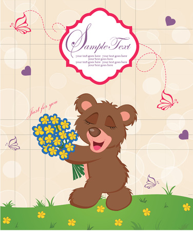 Vintage Valentine card with ornate elegant retro abstract design, cute brown teddy bear with boquet of flowers on beige background with bubbles hearts butterflies and text label over green field with yellow flowers. Vector illustration. Vettoriali