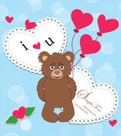 heart with text: Vintage Valentine card with ornate elegant retro abstract design, cute brown teddy bear with red heart balloons on light blue background with bubbles and heart text label. Vector illustration. Illustration
