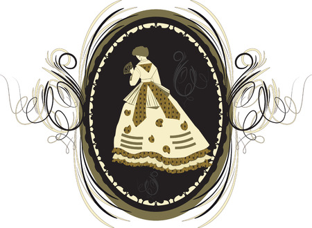 old fashioned: Ornate elegant retro abstract design, woman in old fashioned dress on black background with oblong frame. Vector illustration.