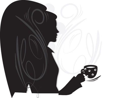 Ornate elegant retro abstract design, woman holding a cup of beverage. Vector illustration.