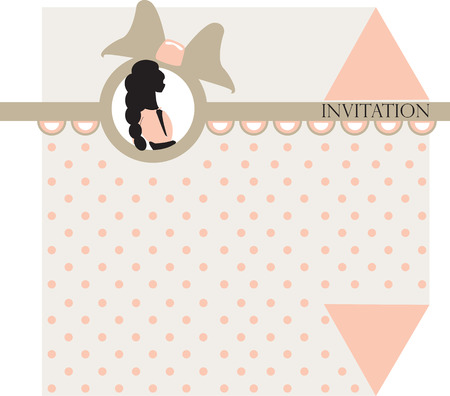 polka dotted: Vintage invitation card with ornate elegant retro abstract design, girl on pink and light gray polka dotted background with ribbon and text label. Vector illustration.