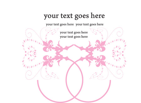 arranged: Vintage invitation card with ornate elegant retro abstract design, pink arranged shapes on white background with text label. Vector illustration. Illustration