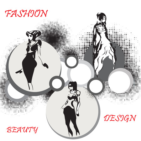 boutique display: Fashion women illustration