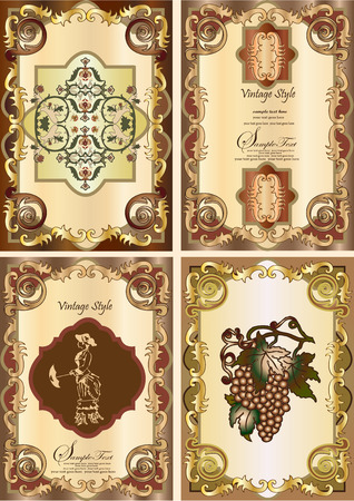 set of four vintage card Vector
