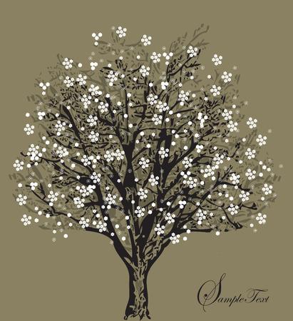 自然の象徴の白い花と木のシルエット  イラスト・ベクター素材