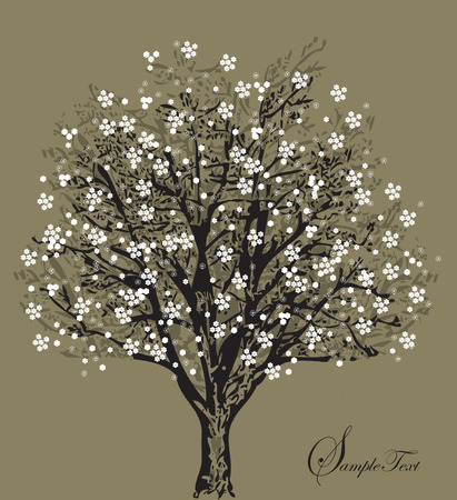 Tree silhouette with white flowers, symbol of nature