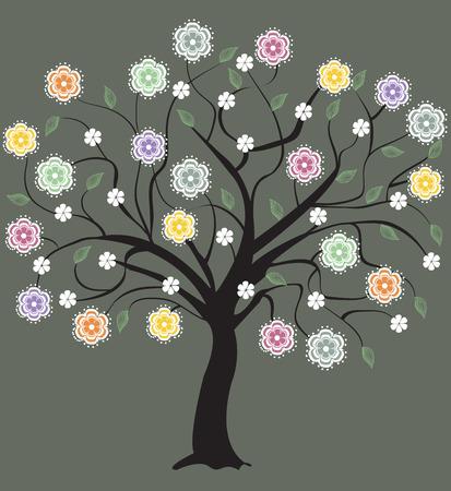 baum symbol: Abstract floral Baum, Symbol der Natur