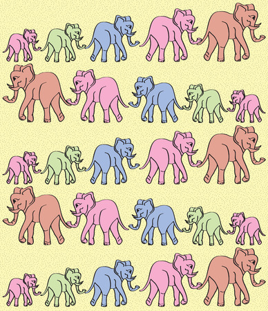 many colored: Texture of many colored elephants, vector design Illustration