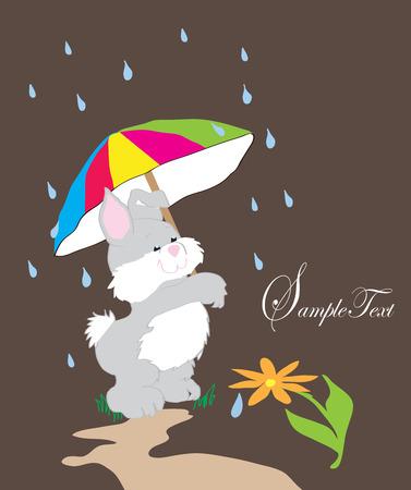 Invitation with a rabbit and umbrella Vector