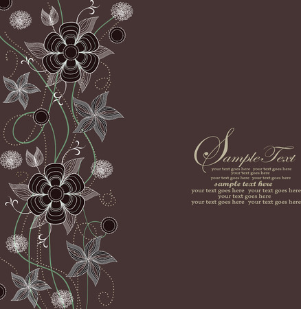 brown background: Abstract flowers on brown background Illustration