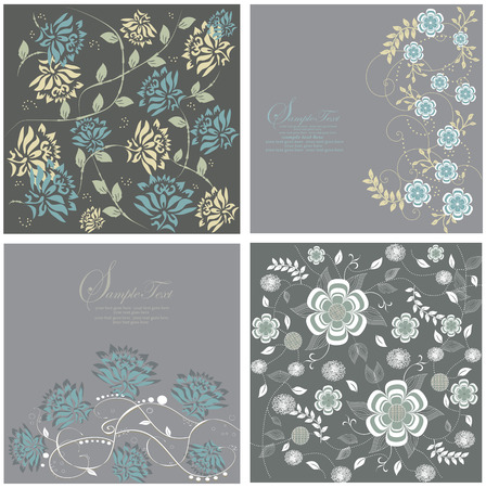 Four gray cards with floral background