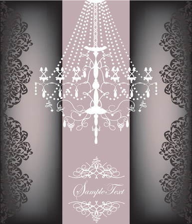 Romantic vintage card design with chandelier Illustration