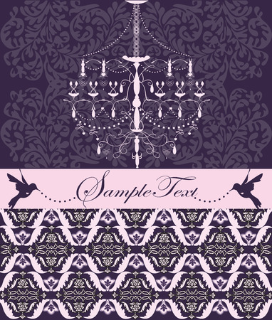 Vector vintage wedding card design with chandelier and birds