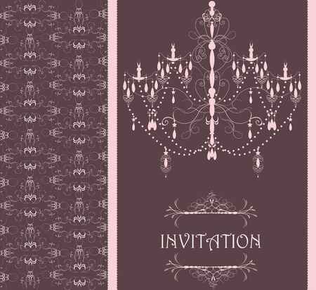 Vintage invitation card with ornate design and chandelier, brown. Vector illustration. 일러스트