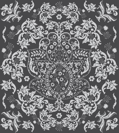 Vintage background with ornate floral design, gray. Vector illustration. Иллюстрация