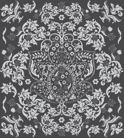 swirl pattern: Vintage background with ornate floral design, gray. Vector illustration. Illustration