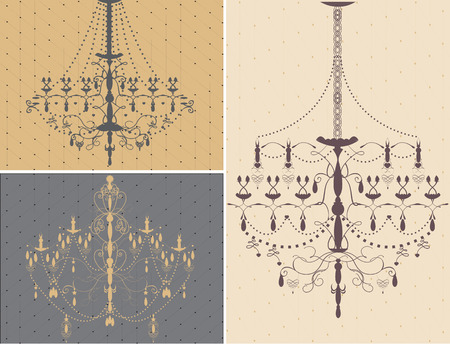 Set of three chandelier design elements. Vector illustration.