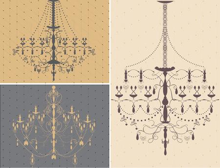 Set of three chandelier design elements. Vector illustration.