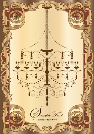 Vintage invitation card with ornate design and chandelier. Vector illustration. 일러스트