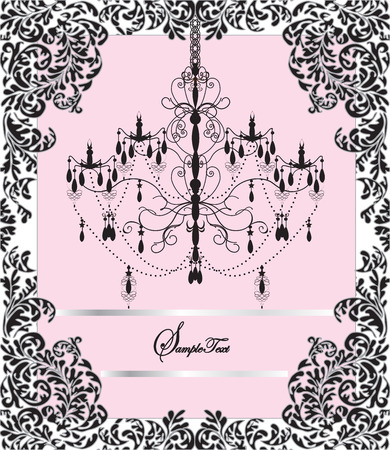 Vintage invitation card with elegant ornate design, chandelier. Vector illustration.