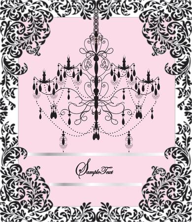 thank you cards: Vintage invitation card with elegant ornate design, chandelier. Vector illustration.