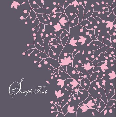 royal wedding: Vintage wedding invitation card with elegant retro floral design, pink flowers on purple. Vector illustration.