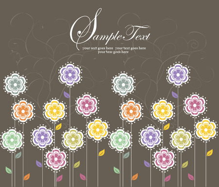 Vintage wedding invitation card with elegant retro floral design, multi-colored flowers on gray. Vector illustration. Vector
