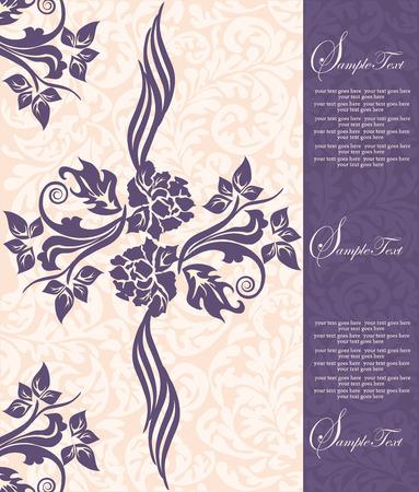 thank you cards: Vintage invitation card with ornate elegant floral design, purple flowers on peach. Vector illustration.