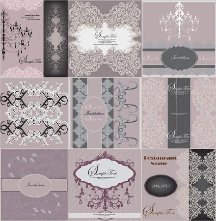 Set of nine (9) vintage invitation cards with ornate elegant floral design, on purple. Vector illustration.