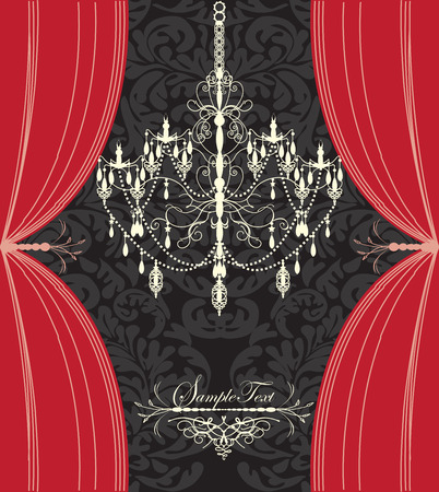 Vintage invitation card with ornate elegant floral design, chandelier and curtains, red and black. Vector illustration.