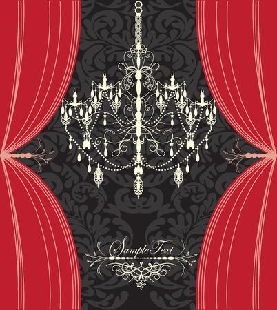 royal wedding: Vintage invitation card with ornate elegant floral design, chandelier and curtains, red and black. Vector illustration.