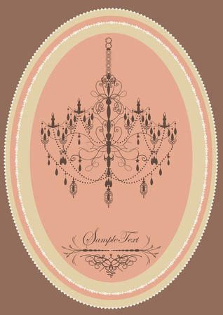 Vintage oblong frame with elegant retro design, chandelier, pink. Vector illustration.