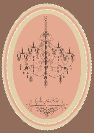 Vintage oblong frame with elegant retro design, chandelier, pink. Vector illustration.