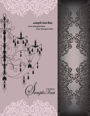 Vintage invitation card with ornate elegant floral design, chandelier, on gray. Vector illustration.