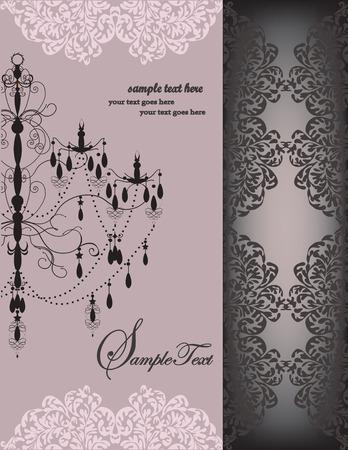 Vintage invitation card with ornate elegant floral design, chandelier, on gray. Vector illustration.