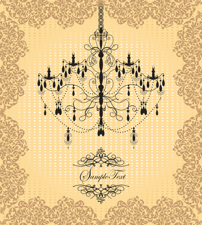 Vintage invitation card with ornate elegant grunge floral design, chandelier, brown and yellow. Vector illustration. 일러스트