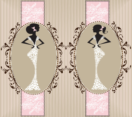 royal person: Vintage invitation card with ornate elegant floral design, with two women, pink on gray. Vector illustration.
