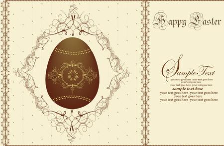 brown egg: Vintage easter invitation card with ornate elegant abstract floral design, brown egg on yellow. Vector illustration. Illustration