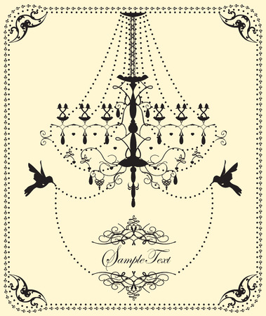fancy border: Vintage wedding invitation card with ornate elegant design, chandelier and birds, on yellow. Vector illustration. Illustration