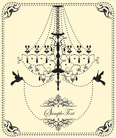 antique art: Vintage wedding invitation card with ornate elegant design, chandelier and birds, on yellow. Vector illustration. Illustration
