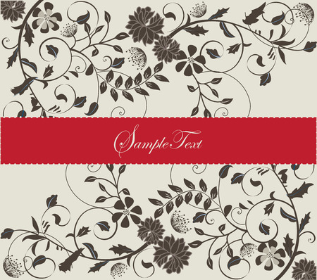 Vintage invitation card with elegant retro floral design, red and gray. Vector illustration. Vector