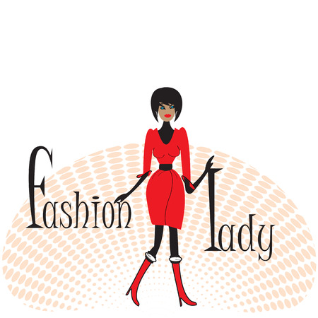 Fashion lady in red clothing, grunge background on white. Vector illustration.