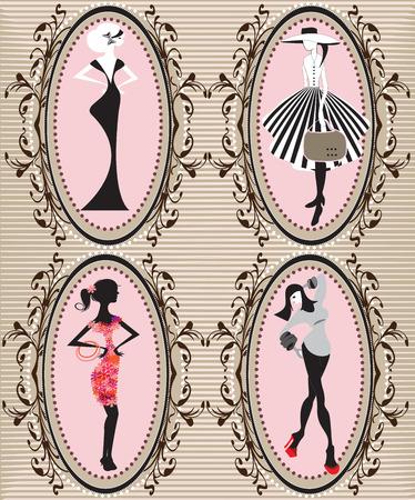 Set of four (4) vintage oblong frames with elegant retro abstract floral design, women. Vector illustration.