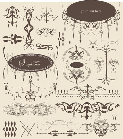 Vintage elements with ornate elegant abstract designs, brown on gray. Vector illustration.