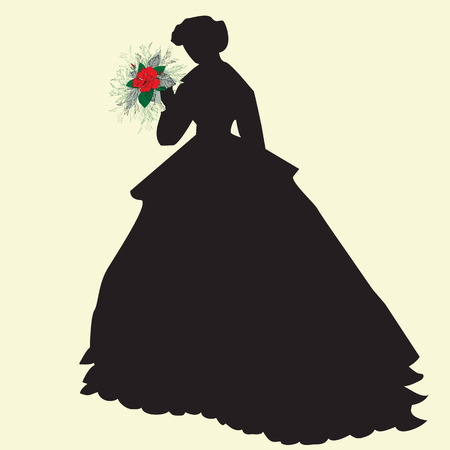 debutante: Black silhouette of a bride holding red flowers, on yellow. Vector illustration. Illustration