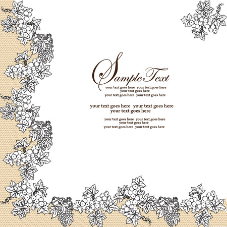 royal wedding: Vintage invitation card with elegant abstract floral design, black grapes on white and tan. Vector illustration.