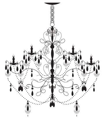vintage chandelier: Vintage chandelier element with ornate elegant abstract design, black on white. Vector illustration.
