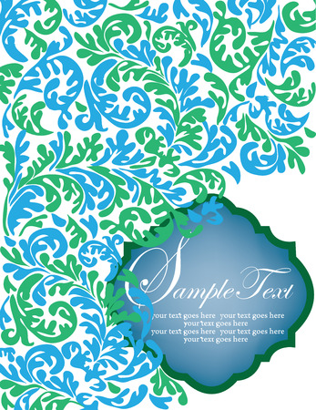 Vintage invitation card with ornate elegant abstract floral design, blue and green on white. Vector illustration.