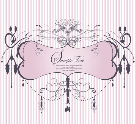 Vintage invitation card with ornate elegant abstract floral design, pink chandelier on stripes. Vector illustration.