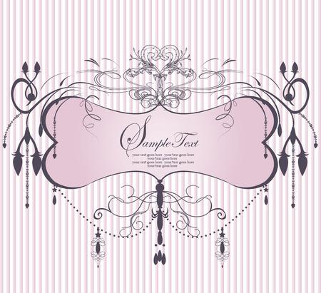 Vintage invitation card with ornate elegant abstract floral design, pink chandelier on stripes. Vector illustration.